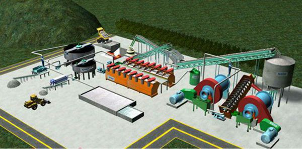 Flotation machine in ore processing line