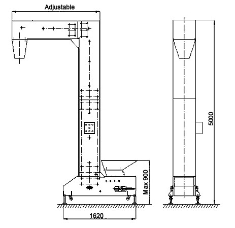 The structure of bucket elevator