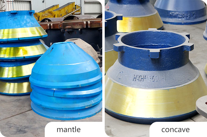 Mantle (movable cone) and concave (fixed cone)