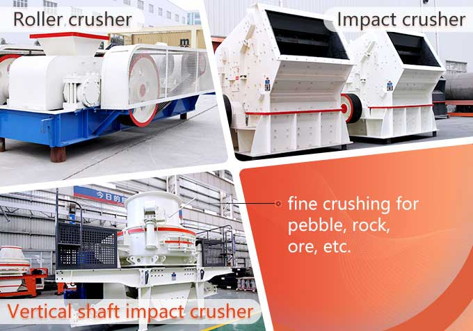 Picture of roller crusher, impact crusher and vertical shaft impact crusher