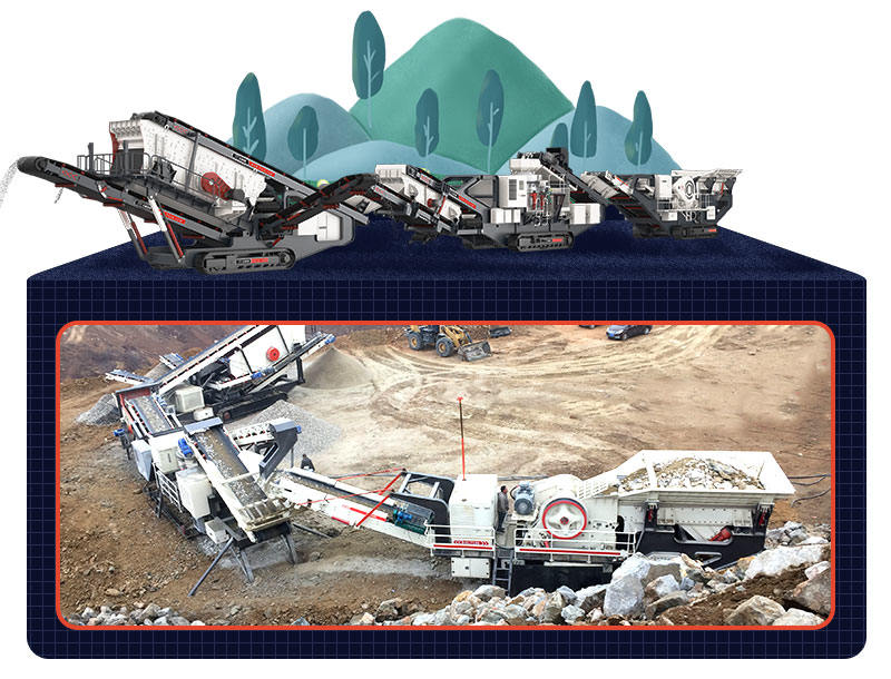 mobile crusher crushing in quarry field