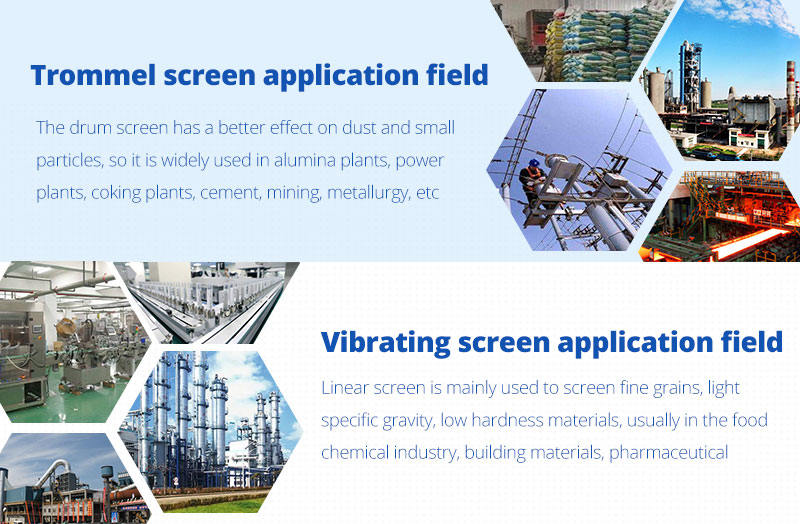 Different fields of application of the drum screen and vibrating screen