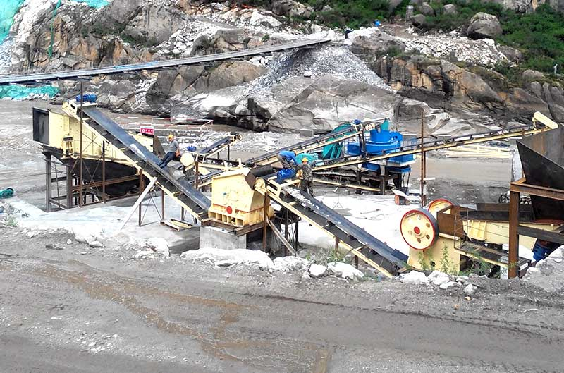 Mining equipment on working site